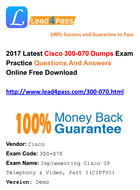 2017 Latest Cisco Version] New Cisco 300-070 Dumps Exam Training